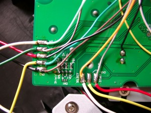 zomed view, the pins for direction and select,start are marked on the mainboard
