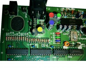 Remove the 4 capacitors and 3 resistors